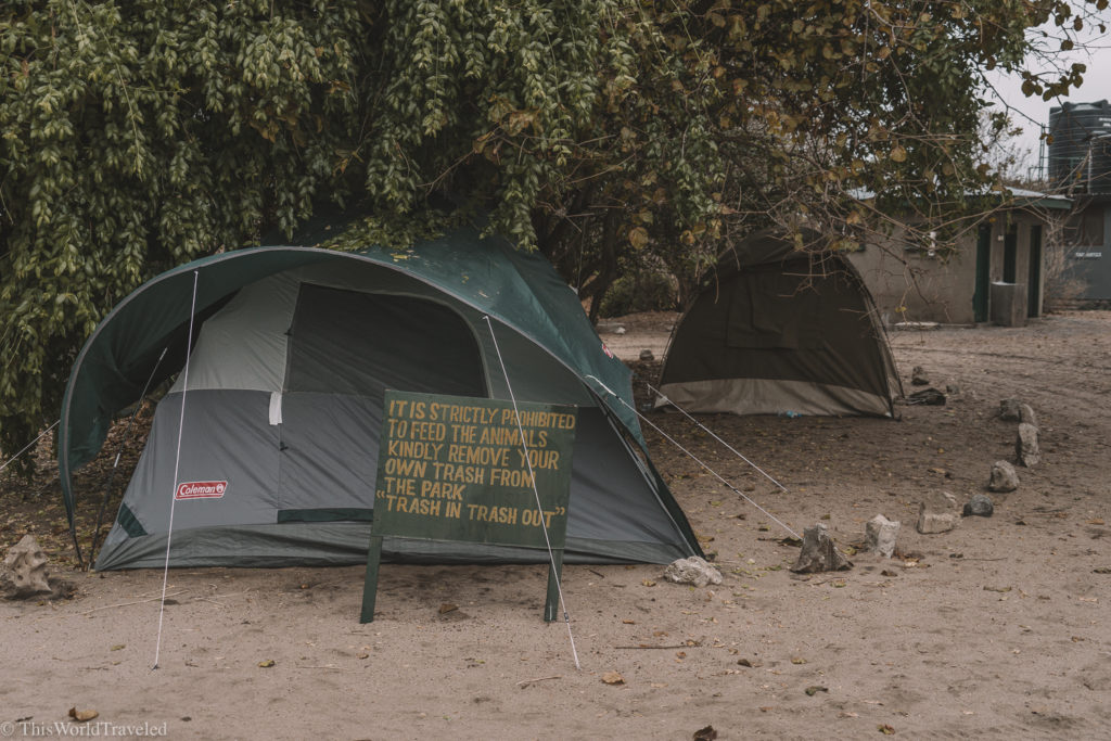 We camped in tents on different campsites in Tanzania
