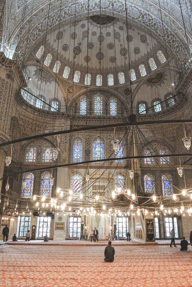 The interior of the Blue Mosque in Istanbul showcases some of the best architectural designs and intricate details.