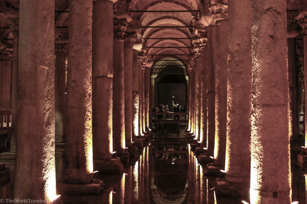 Inside the Basilica Cistern which is an underground museum in Istanbul