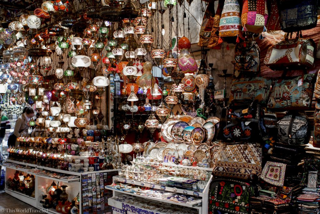 The Grand Bazaar has lots of beautiful items for sale including turkish lamps and rugs