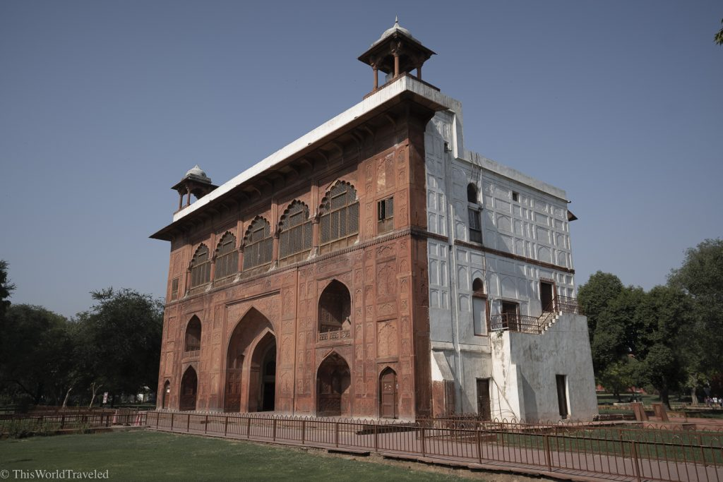 red and white building located in the Red Fort complex in Delhi, India