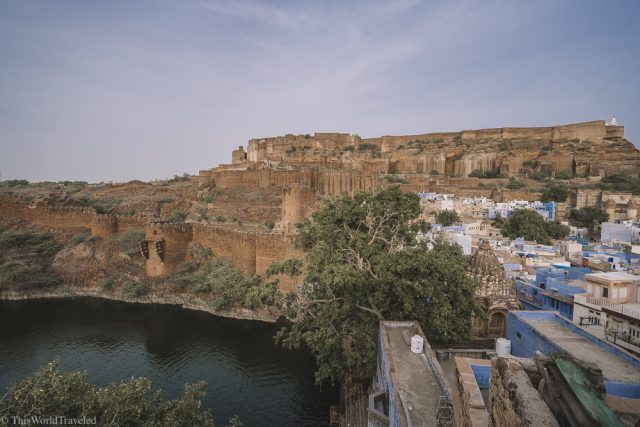 The reservoir located underneath the fort in the old city of Jodhpur, India