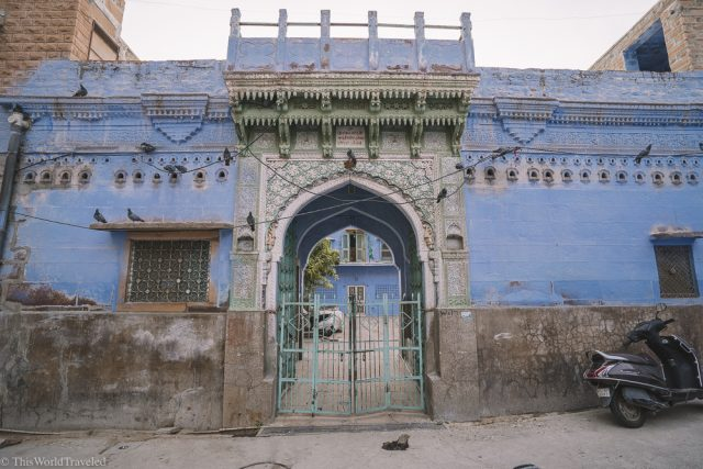 Blue buildings in Jodhpur, India with stunning details to the arhchitecture