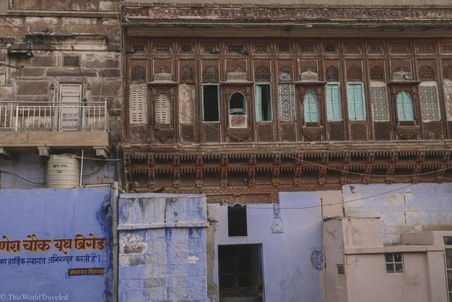 Some of the blue buildings with stunning detail in Jodhpur, India