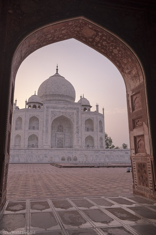 The view of the Taj Mahal through the archway of the mosque just to the right of the Taj