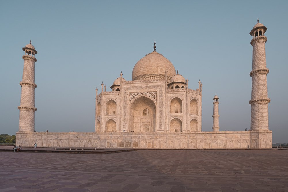View of the Taj Mahal with the early morning sun lighting it up