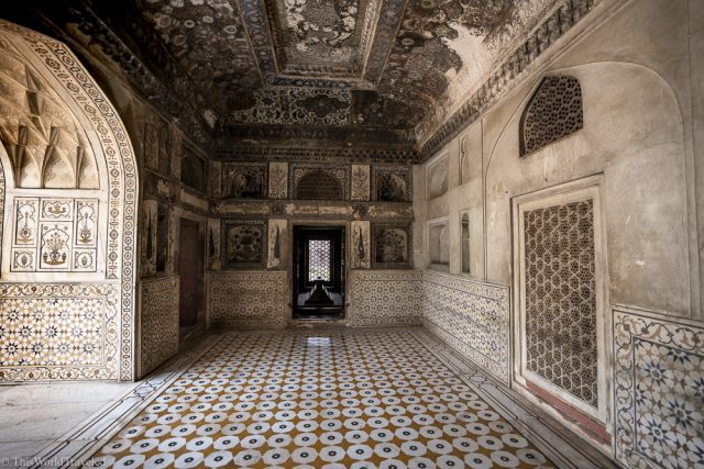 the inside of the baby taj. there are many floral designs on the walls and semiprecious stones