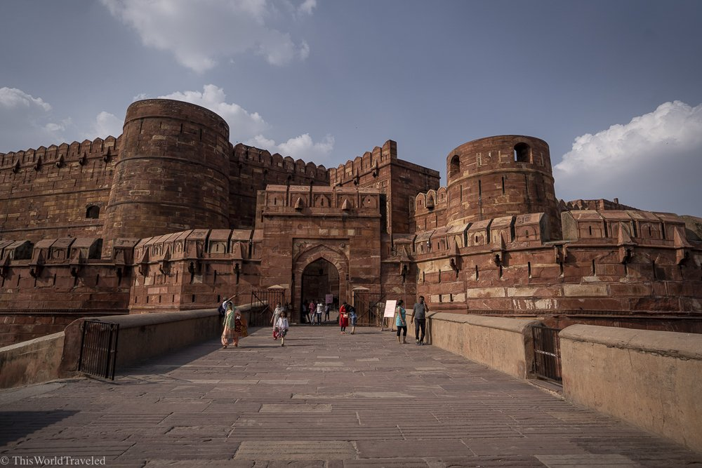 Large red sandstone building which is the main fort in Agra, India.