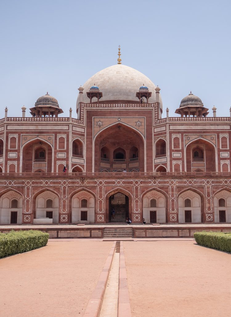 Humayan's Tomb in New Delhi, India is made of red sandstone and it very large and ornate