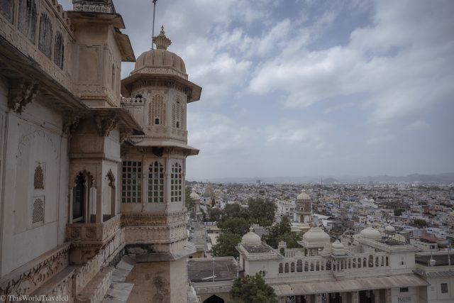 view of udaipur from inside the city palace.