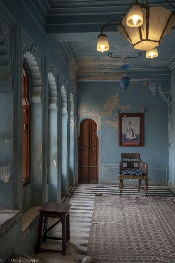 Turquoise colored room located in Udaipur's city palace