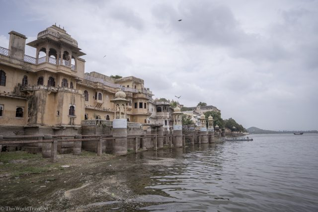 View of the buildings on Lake Pichola in Udaipur from a boat ride