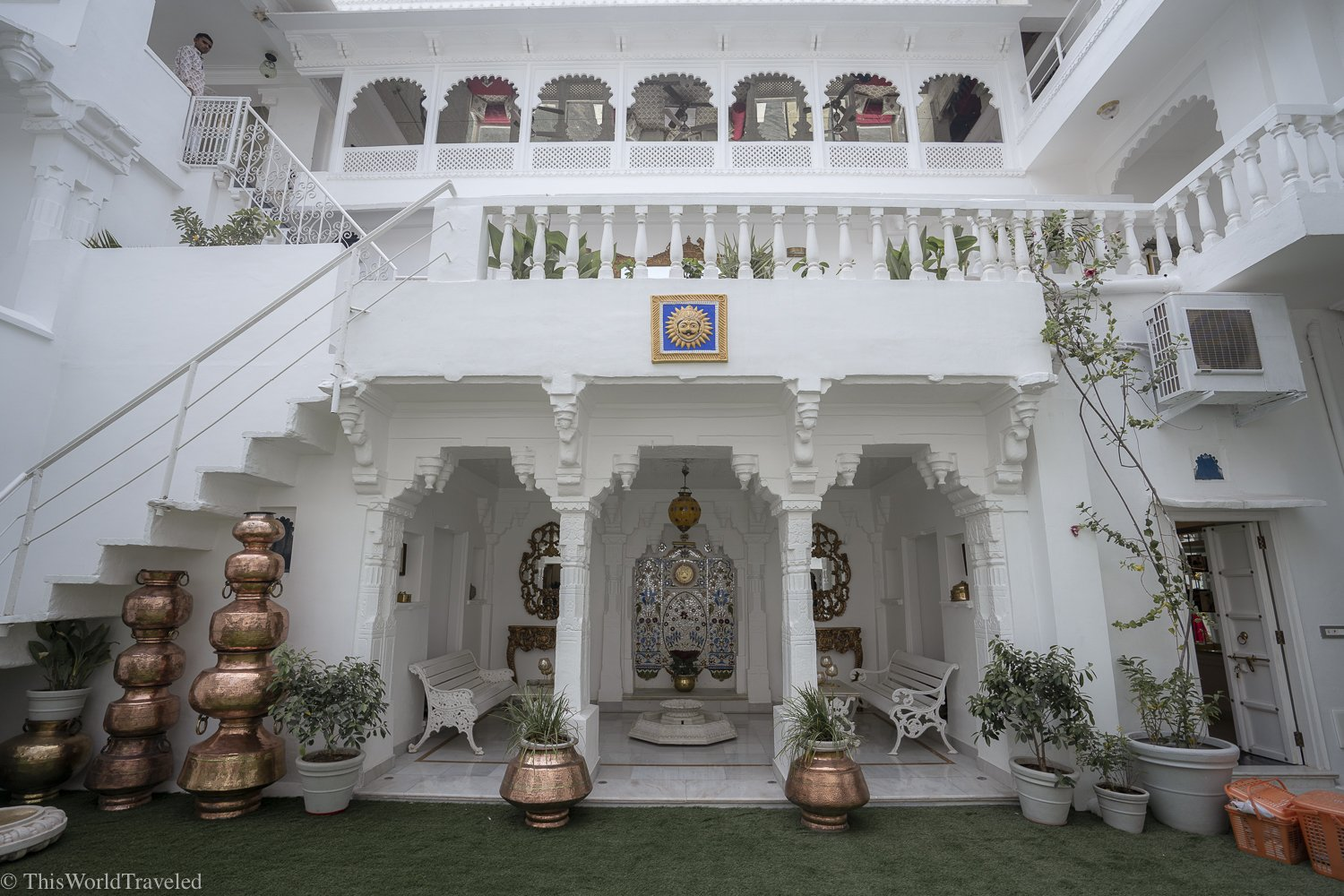 The interior of the Jagat Niwas Palace hotel and the stunning details