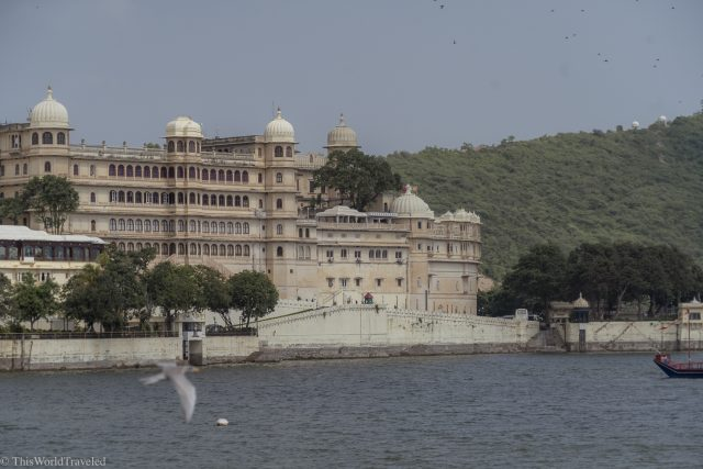 View of city palace on Lake Pichola from the boat ride.