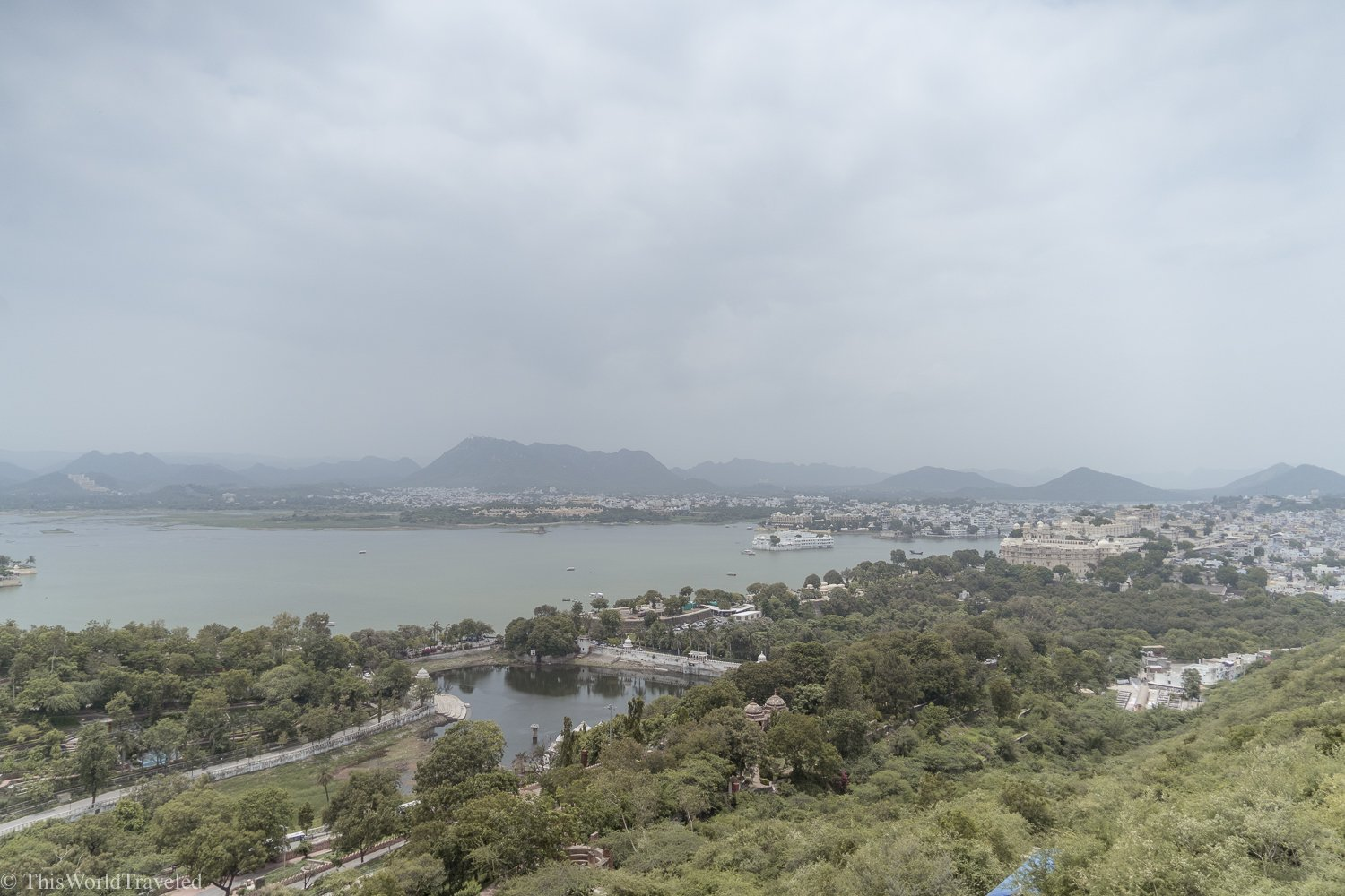 Bird's eye view of Lake Pichola from the Udaipur ropeway