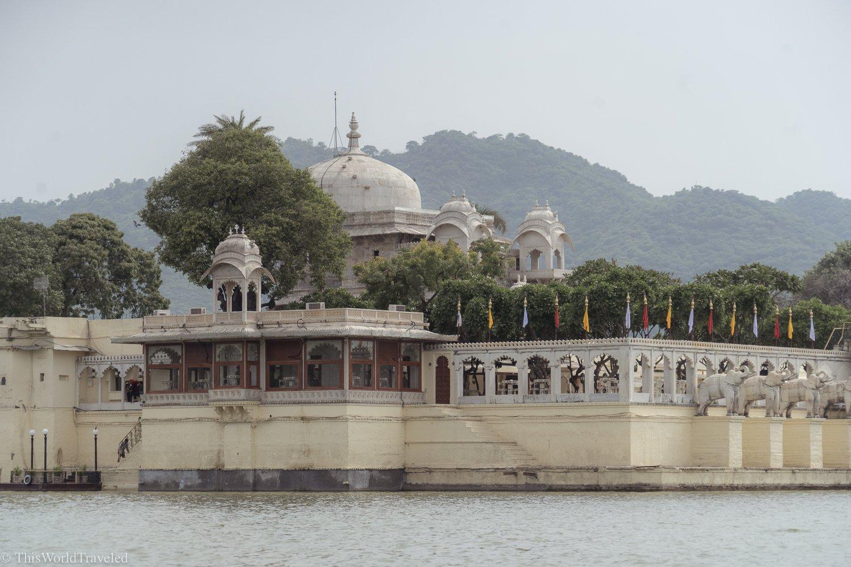 View of Taj Lake Palace hotel from a boat ride around Lake Pichola