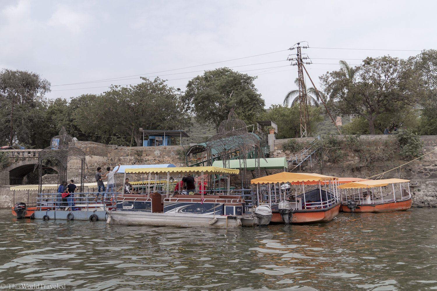 The boat docks on Lake Pichola where you can take a boat ride around the lake