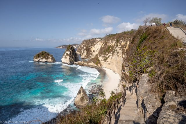 Diamond beach from the top of the road on Nusa Penida Island near Bali