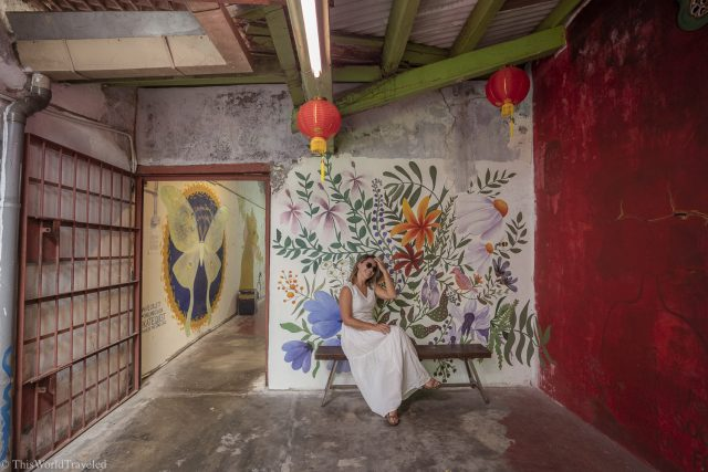 Girl sitting in front of a wall painted with flowers inside a street art alley in Georgetown, Penang in Malaysia