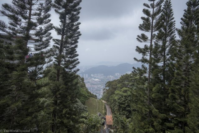 View of Penang from the Funicular that goes up Penang Hill in Malaysia