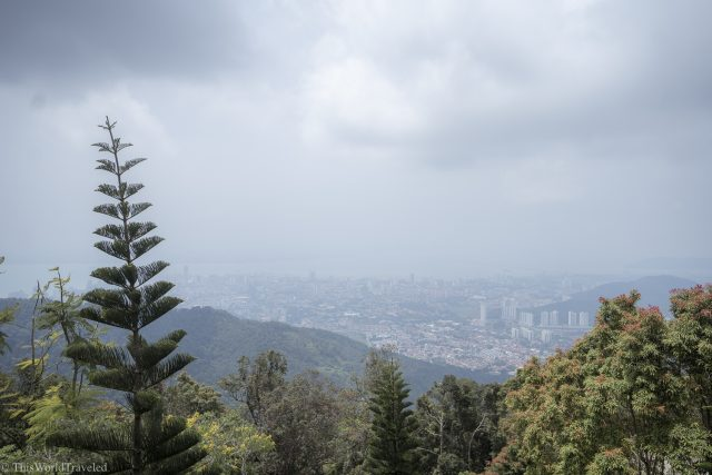 View of penang from the funicular that goes up to Penang Hill in Malaysia