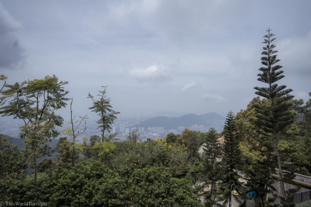 View of Penang from the funicular on a foggy day in Penang Island in Malaysia