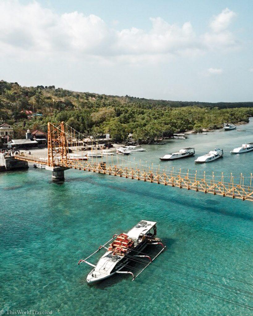 The yellow bridge that connects Nusa Lembongan to Nusa Ceningan