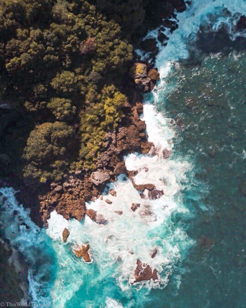 Drone shot of manta point on Nusa Penida Island