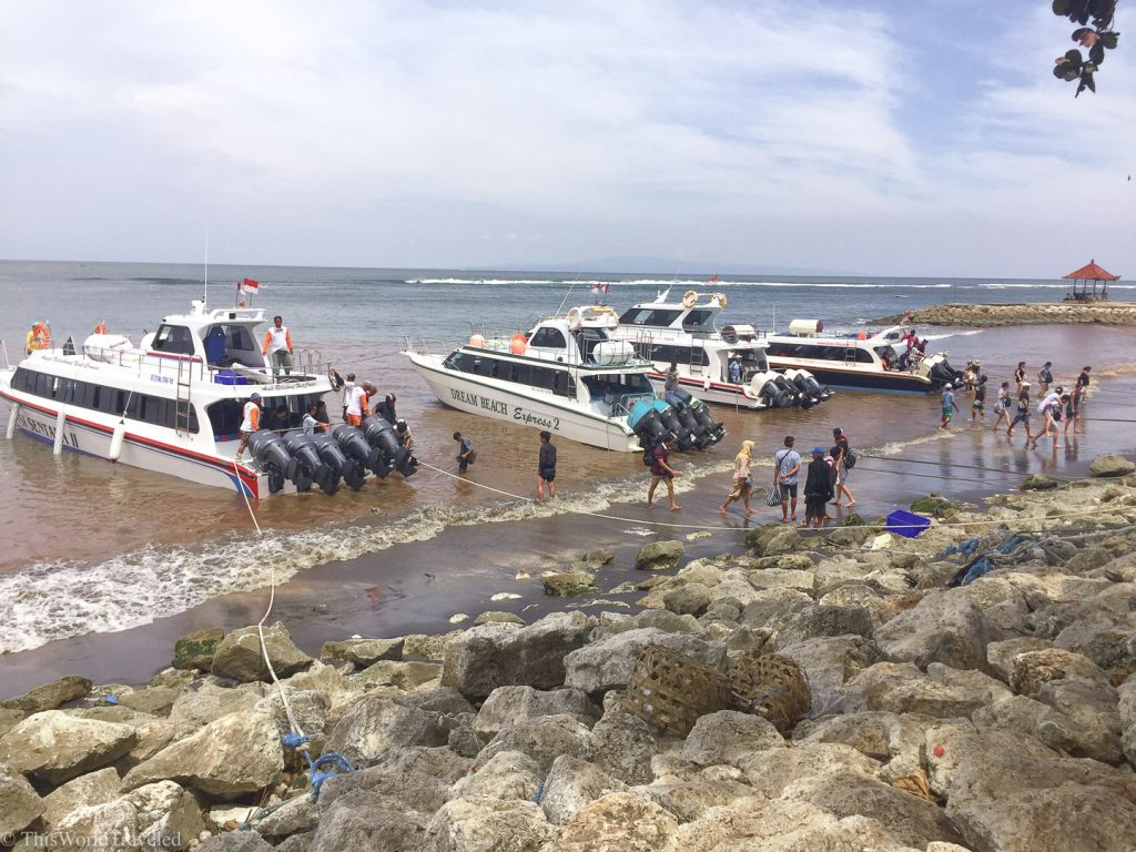 The fast boats that leave from Sanur Harbor to go to Nusa Penida Island