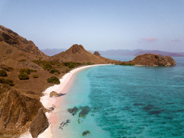 Drone shot of the pink beach in the Komodo Islands