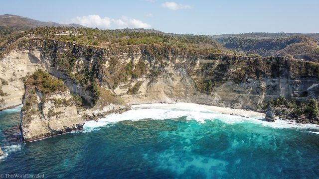 Drone shot of Diamond Beach on Nusa Penida's East Coast