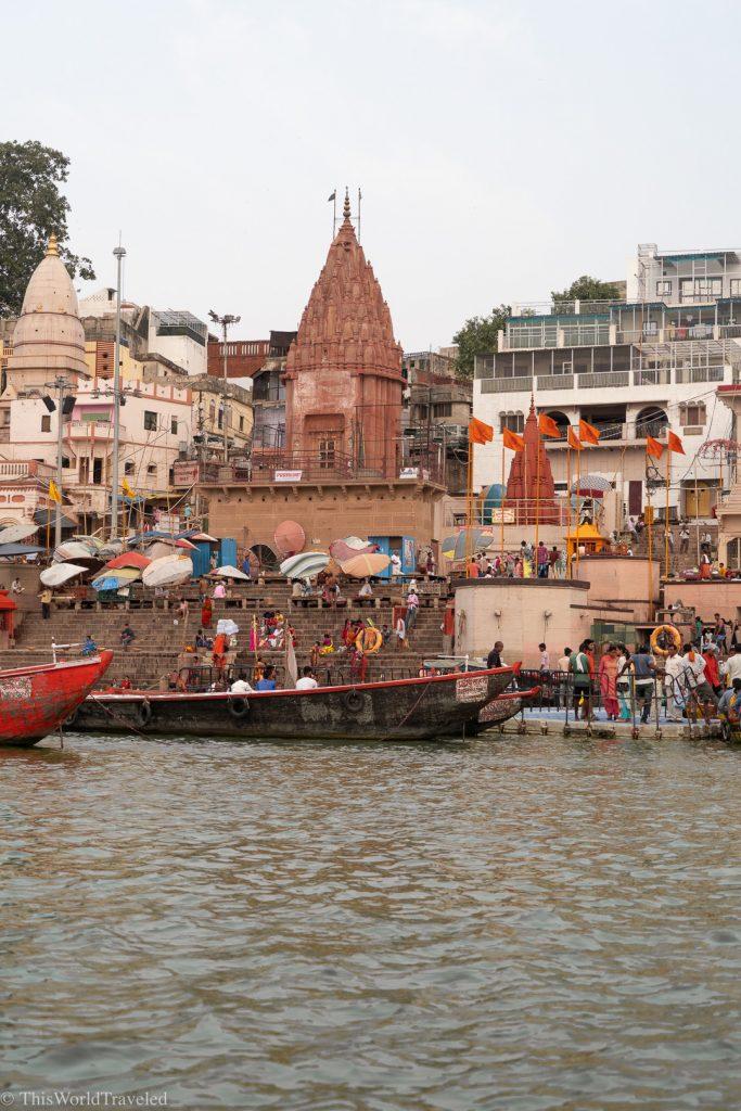 Boats along the Ganges River at sunrise in Varanasi, India