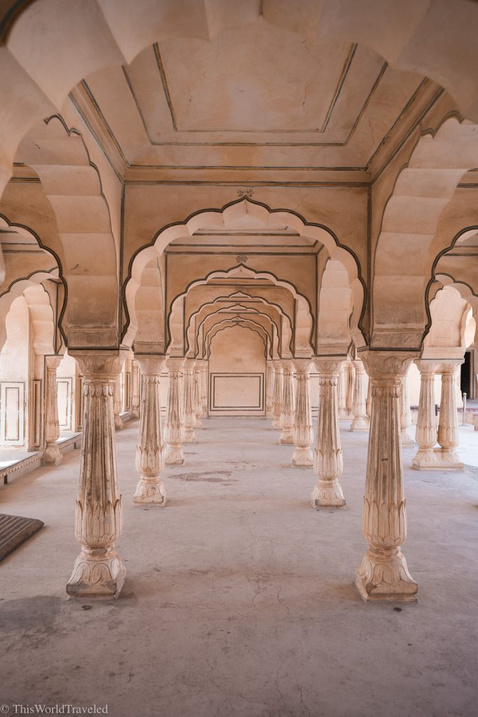 Intricate details on the arches in Amber Fort in Jaipur