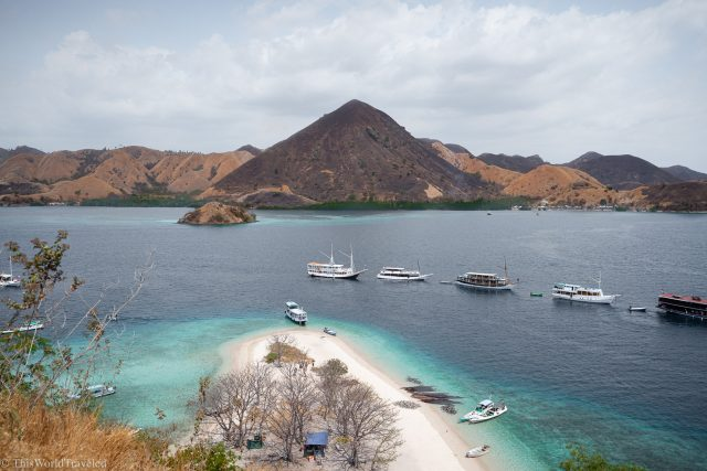 View of Kelor Islands in Komodo National Park from the hike up the hill.
