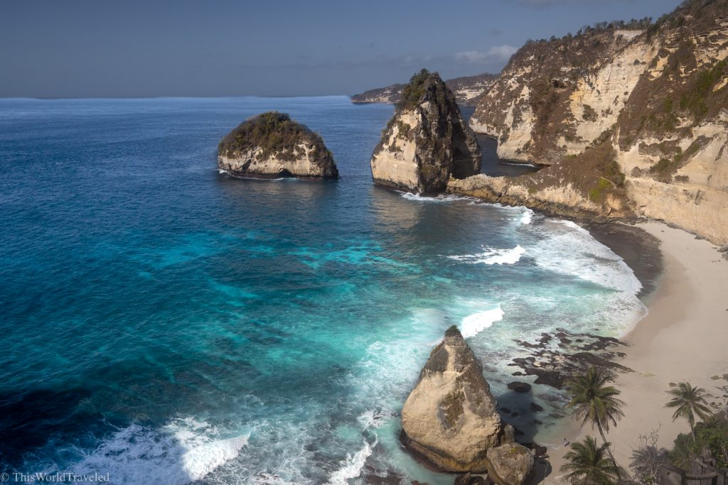 Birds eye view of Diamond Beach on Nusa Penida Island