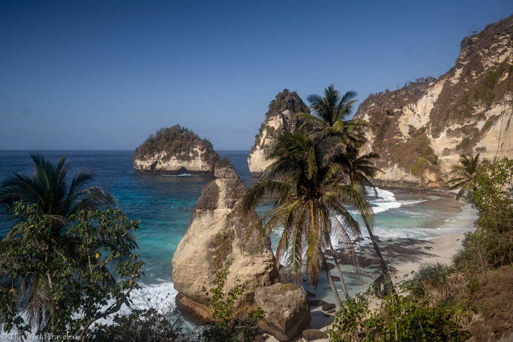 View of Diamond beach on Nusa Penida's east coast