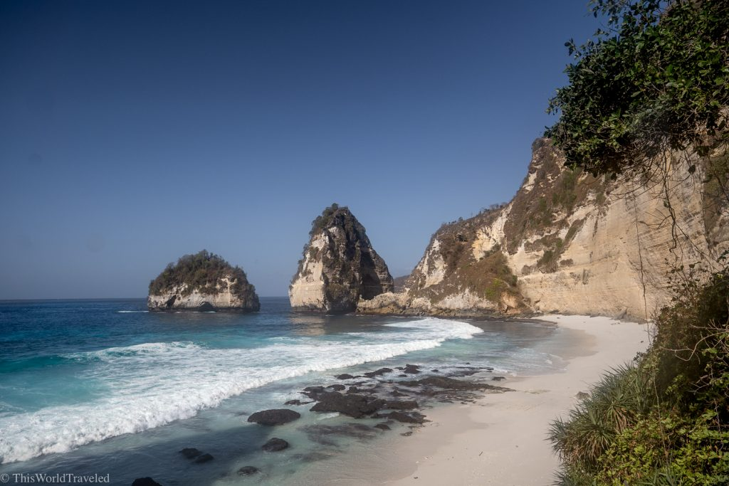 View of Diamond beach from the sandy shores on Nusa Penida's East Coast