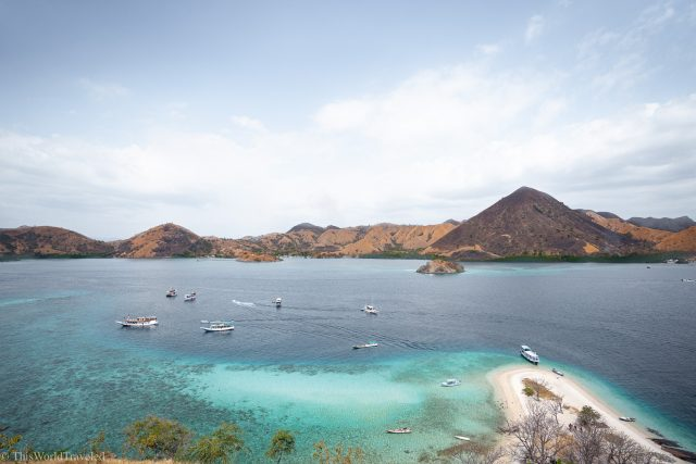 The viewpoint at the top of Kelor Island in the Komodo Islands
