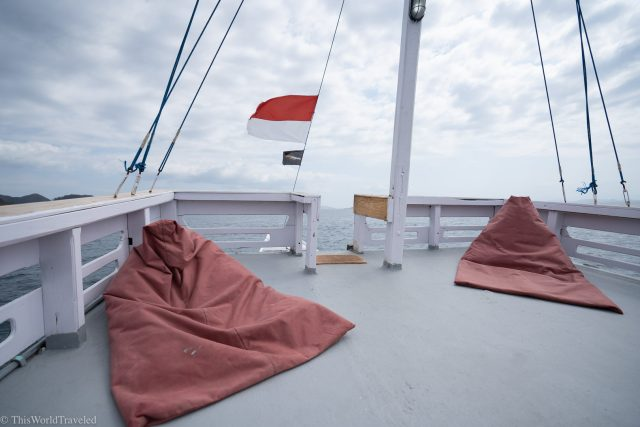 The top deck of the sailing boat in the Komodo Islands