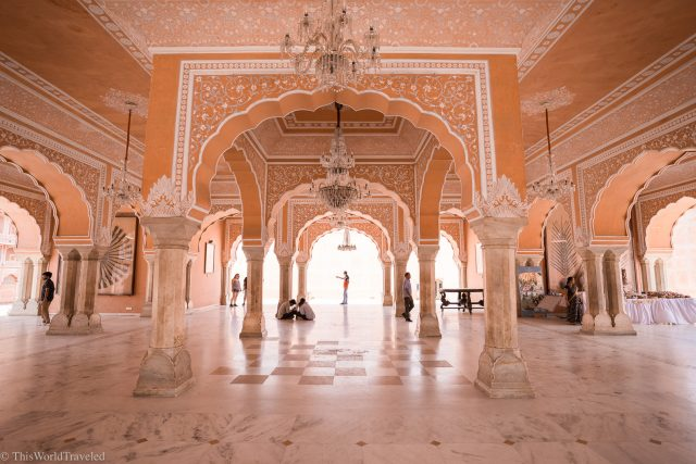 Inside the city palace in Jaipur, India