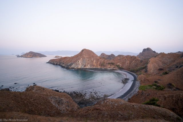 The black sand beach at Padar Island in the Komodo Islands