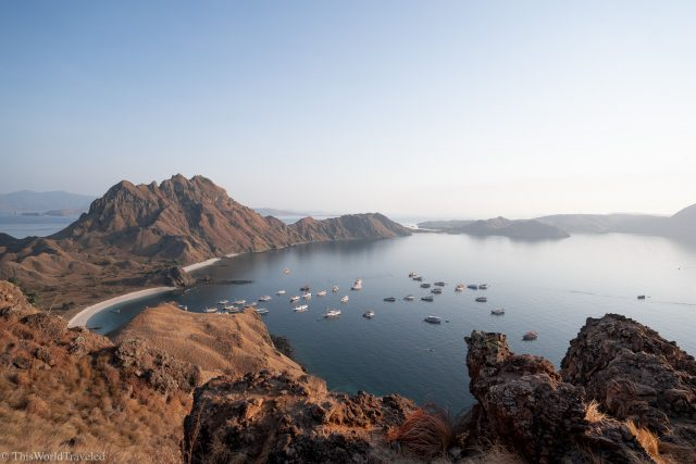 View of the white sand beach on Padar Island in the Komodo Islands