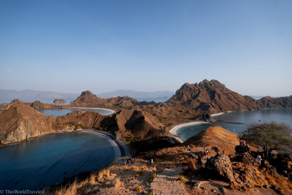 View of Padar Island and the 3 different beaches in the Komodo Islands