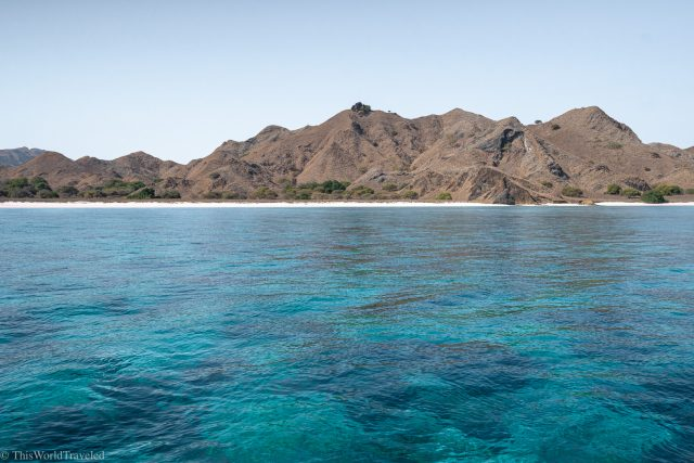 The turquoise water of the Komodo Islands in Indonesia