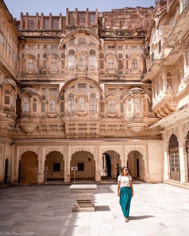 Girl walking inside the Mehrangarh Fort, Jodhpur