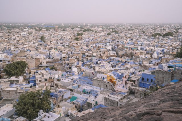 The blue rooftops on Jodhpur in India