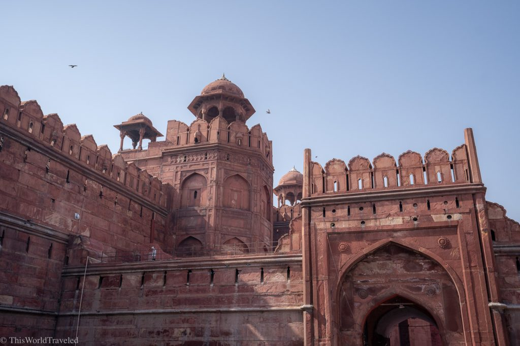 The red sandstone of the Red Fort in Delhi, India