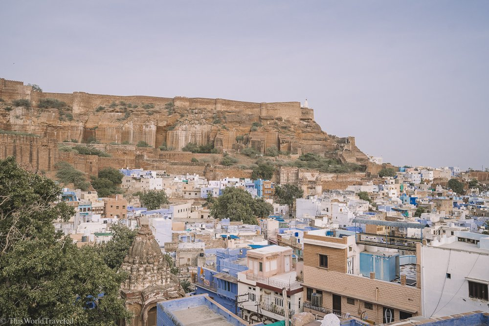 View of the blue city from the rooftop in Jodhpur
