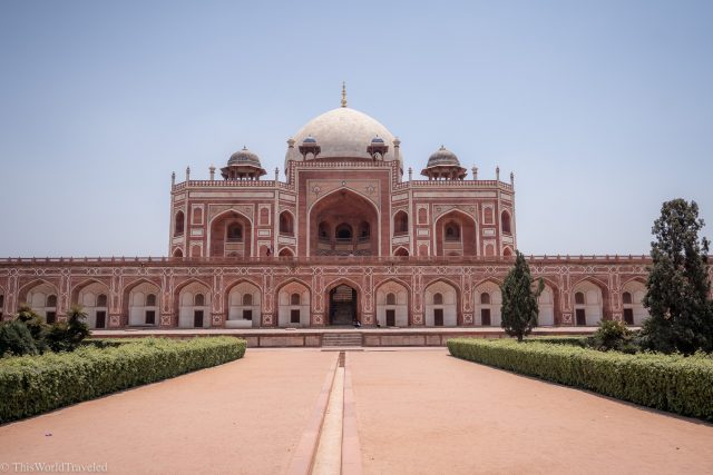 Red and white sandstone building of Humayan's Tomb in Delhi, India