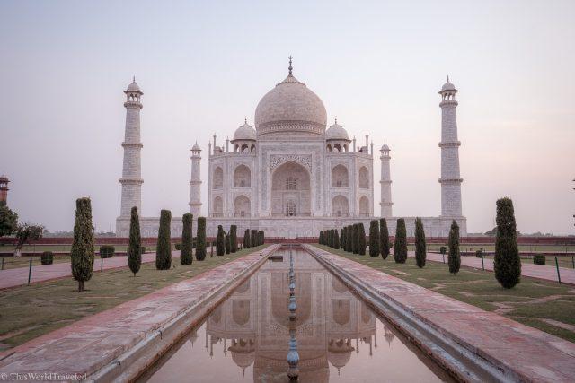 The Taj Mahal at sunrise in Agra, India